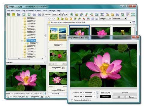 Faststone ver, catalogar, recortar y optimizar imágenes.
