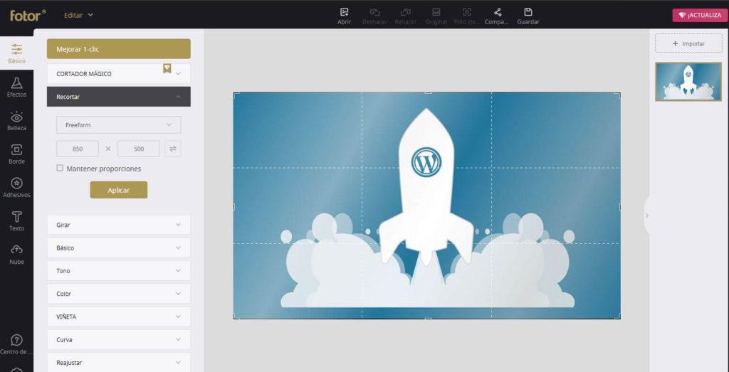 Optimizar imágenes en Fotor