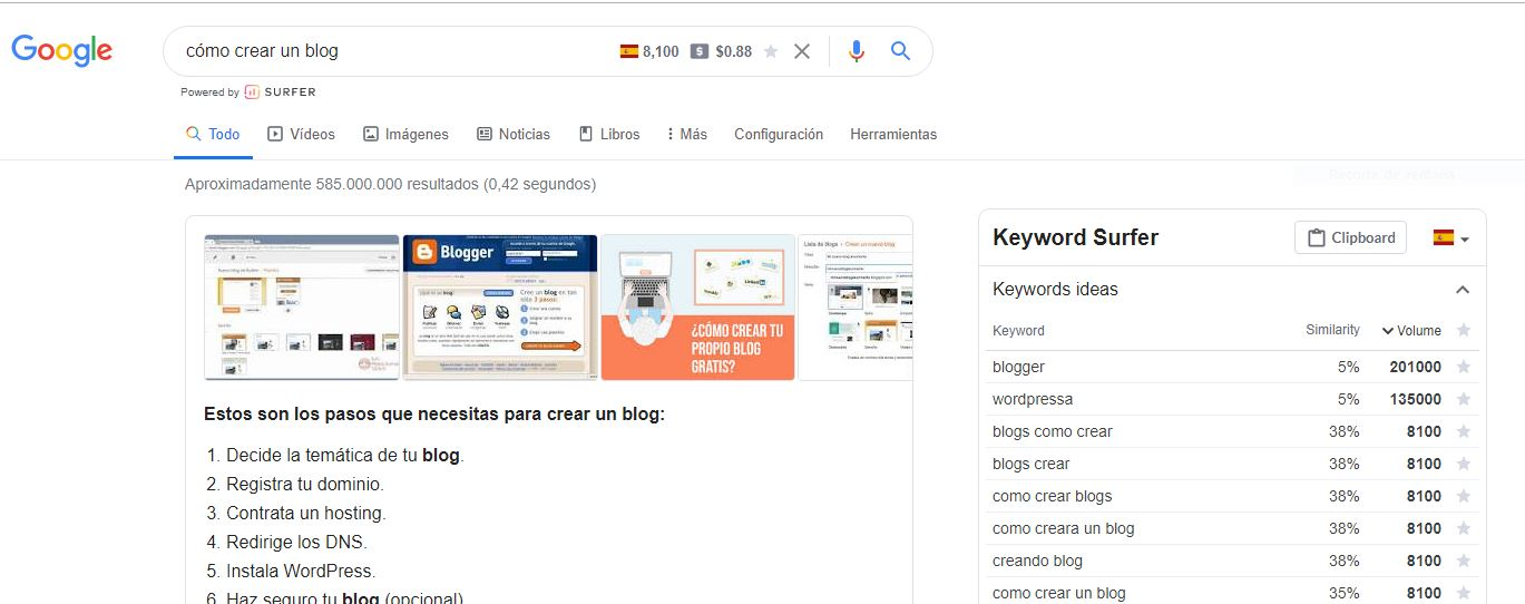 como crear un blog en wordpress paso a paso keyword Surfer