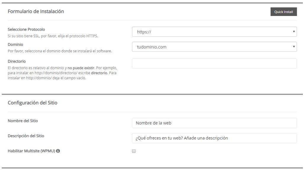 instalar wordpress con un clic rellenar campos