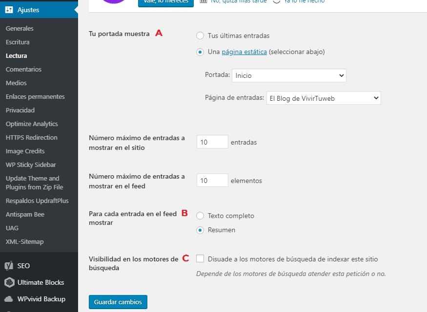 instalar wordpress con un clic ajustes de lectura