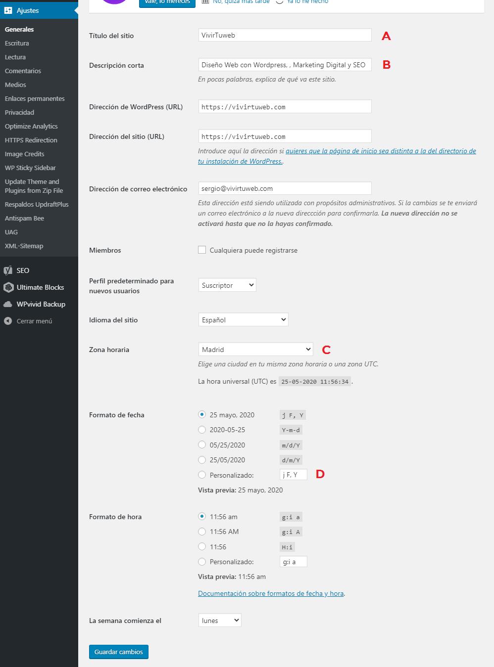 instalar wordpress con un clic ajustes generales