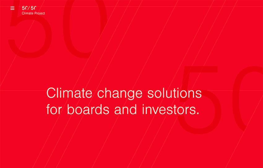 web minimalista 50/50 Climate Project