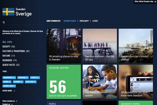 Ejemplos de blogs WordPress página oficial de Suiza