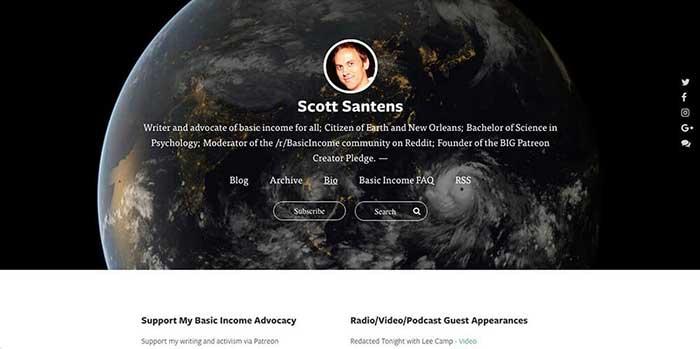 Cómo crear una página web personal, ejemplos Scott Santens