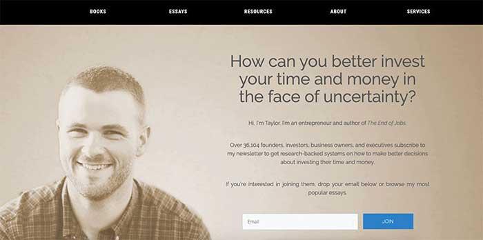 Cómo crear una página web personal, ejemplos Taylor Pearson