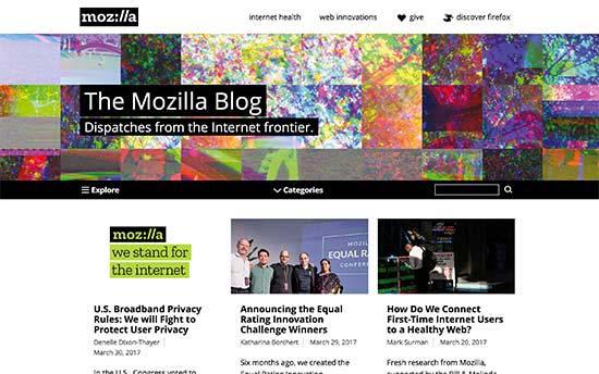 Ejemplos de páginas web y blogs WordPress The Mozilla Blog