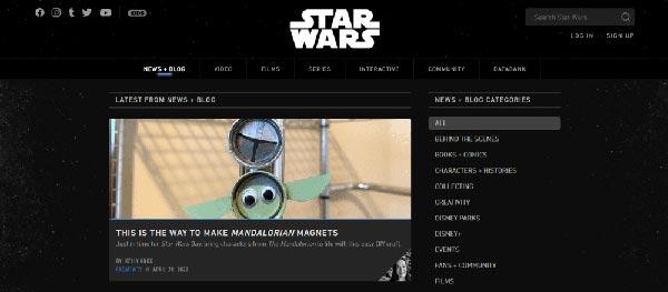 Ejemplos de páginas web y blogs WordPress Star Wars