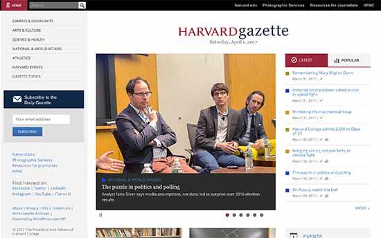 Ejemplos de páginas web y blogs WordPress Harvard Gazette Online