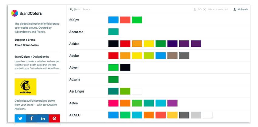 Colores complementarios online Brand Colors