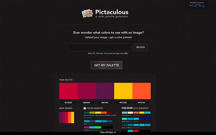 Colores Complementarios online Pictaculous