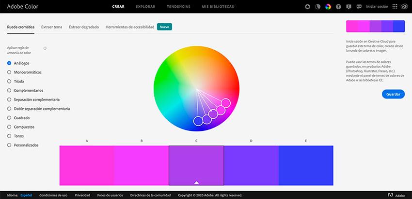 Generadores de Paletas de Colores Online Adobe Color