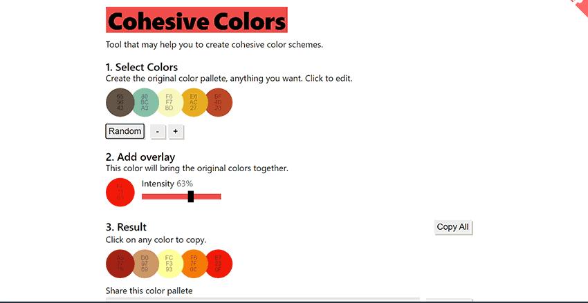paleta de colores web Cohesive colors