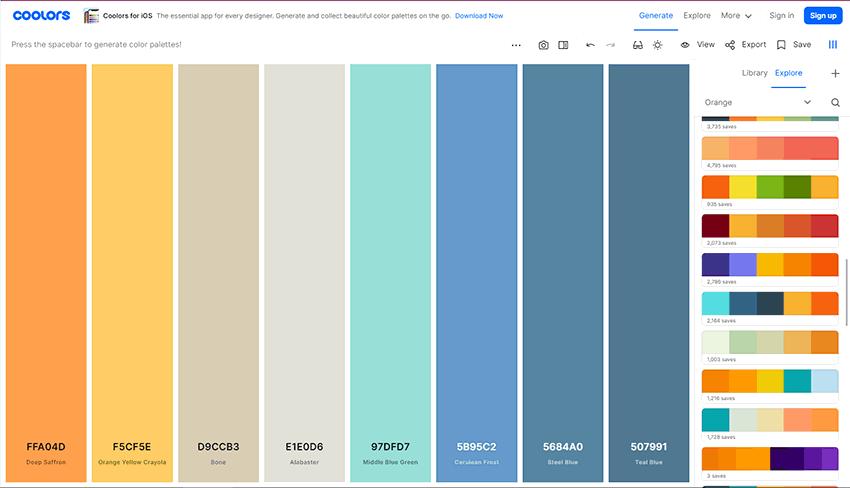 Generadores de Paletas de Colores Online Coolors
