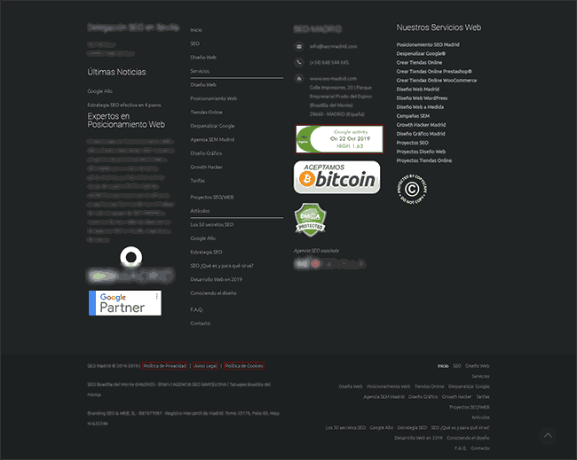 footer web pie de página web